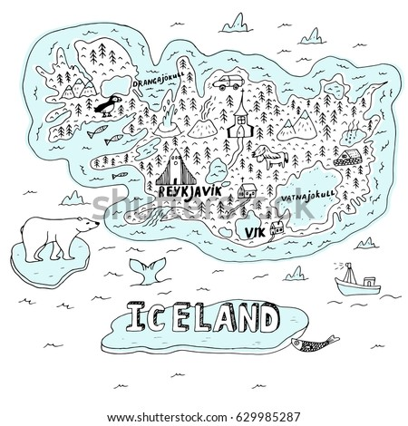iceland hand drawn cartoon map
