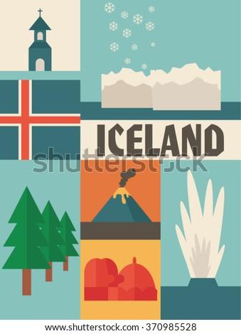 iceland icon set