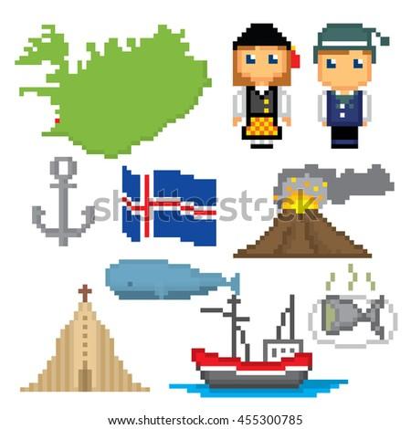 iceland icons set pixel art