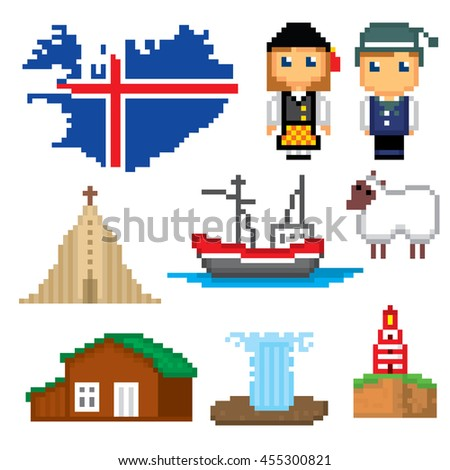 iceland icons set pixel art