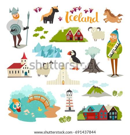 iceland landmarks vector icons