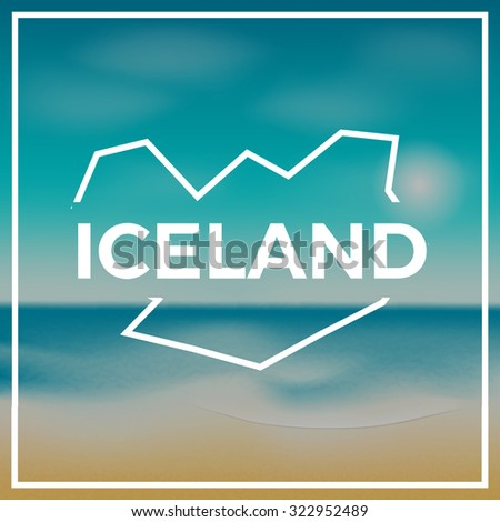 iceland map against the