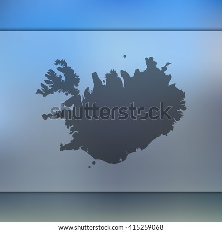 iceland map on blurred