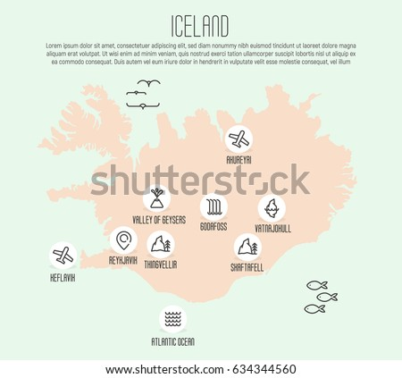 iceland map with thin line