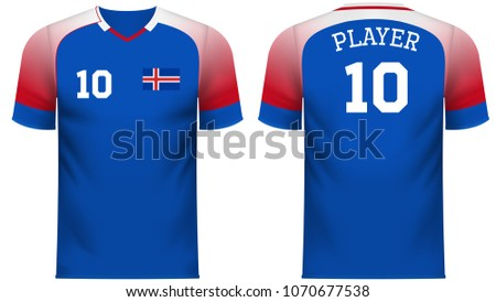 aed22f4347b Iceland national soccer team shirt in generic country colors for fan apparel.  - Shutterstock ID