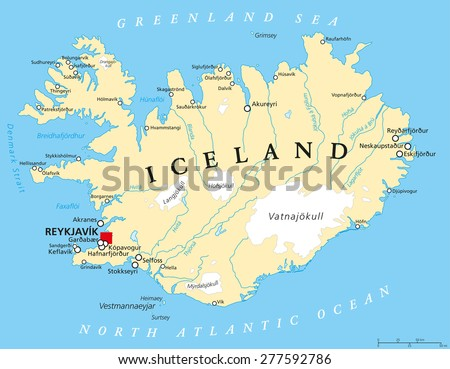 iceland political map with