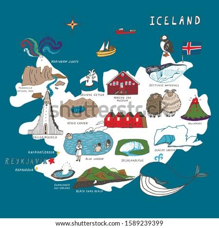 iceland reykjavik vector hand