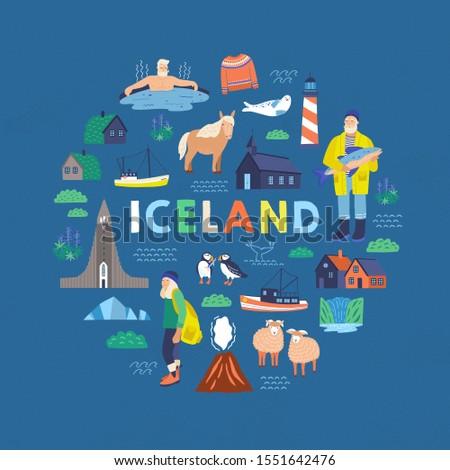 iceland symbols flat vector