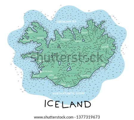 iceland vector map