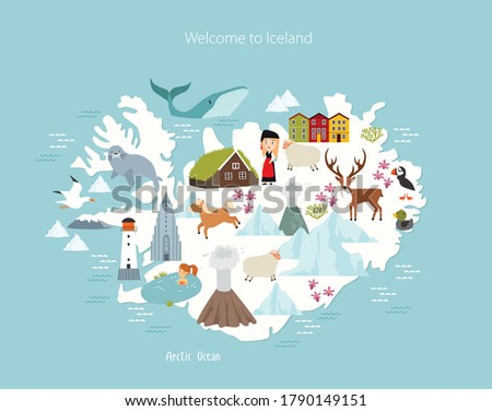 iceland vector map animals and