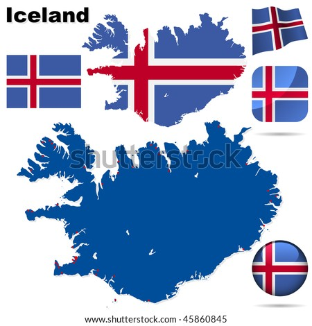 Iceland vector set. Detailed country shape with region borders, flags and icons isolated on white background.