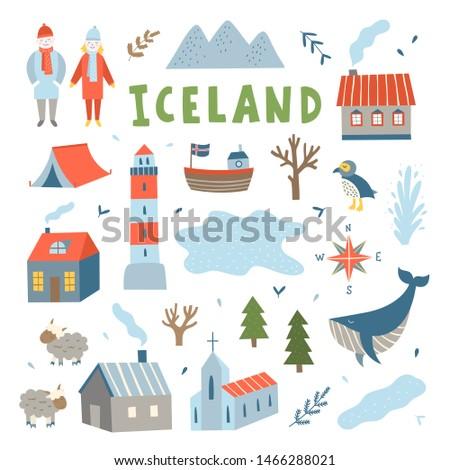 iceland vector travel set