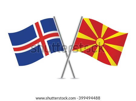 icelandic and macedonian flags