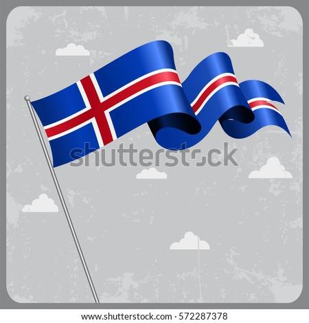 icelandic flag wavy abstract