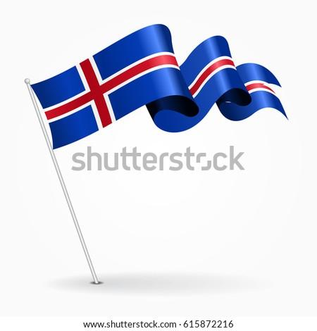 icelandic pin icon wavy flag