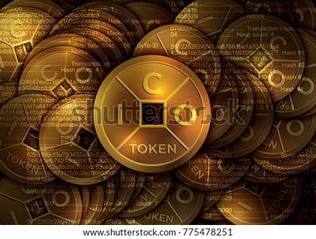 ICO - Initial Coin Offering. Golden ICO token.  Lucky feng shui coin.