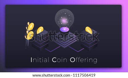 ICO. Initial Coin Offering isometric illustration. People investing money in startup ICO tokens