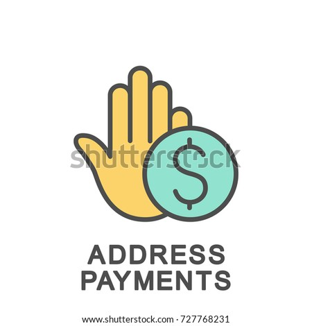 Icon address payments. Address payments allows you to choose and buy the services you need. The thin contour lines with color fills.