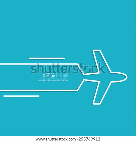 icon airplane and banner for