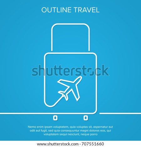 icon airplane and suitcase the