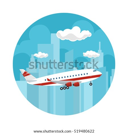 Icon Airplane on the Background of the City, Plane Flies to the East, Travel and Tourism Concept , Air Travel and Transportation, Vector Illustration