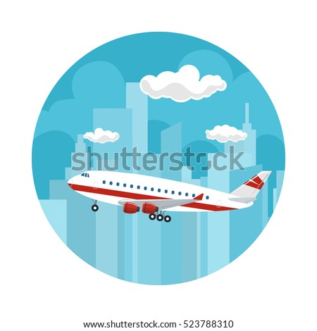 Icon Airplane on the Background of the City, Plane Flies to the West, Travel and Tourism Concept , Air Travel and Transportation, Vector Illustration