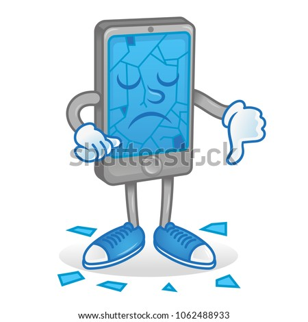 Icon angry smartphone mobile phone tablet show thumb down cracks broken touch screen display need repair help Modern vector style 2d icon illustration cartoon character flat design idea creative.