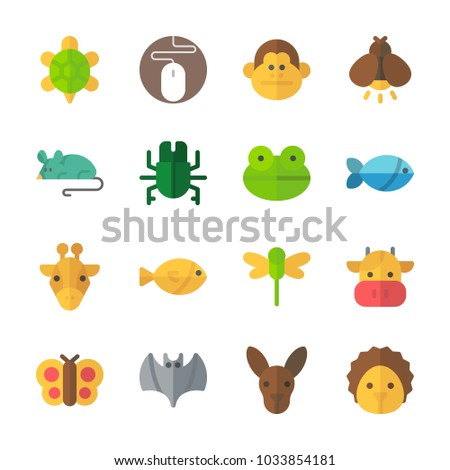 icon Animals with dragonfly, monkey, giraffe, firefly and mouse