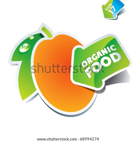 Icon apricot with the arrow by organic food. Vector illustration.