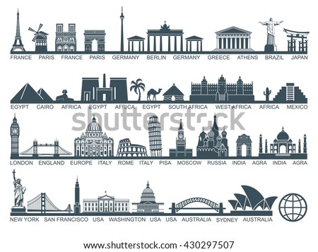 Shutterstock Icon architectural monuments and world tourist attractions