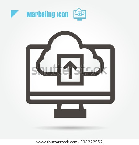 icon arrow Cloud computer marketing vector illustration isolated sign symbol thin line for web, modern minimalistic flat design vector on white background