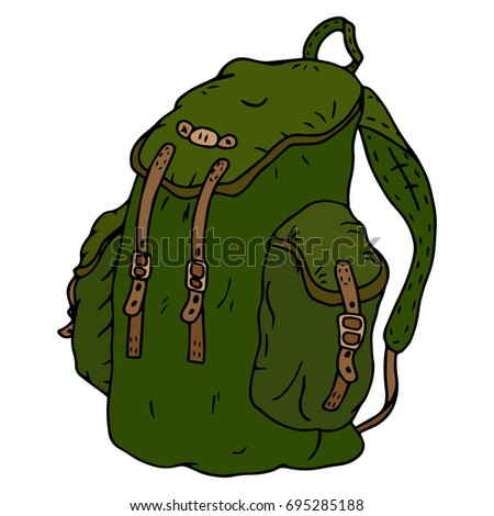 Icon backpack. Sports backpack. A large hiking backpack. Vector illustration.