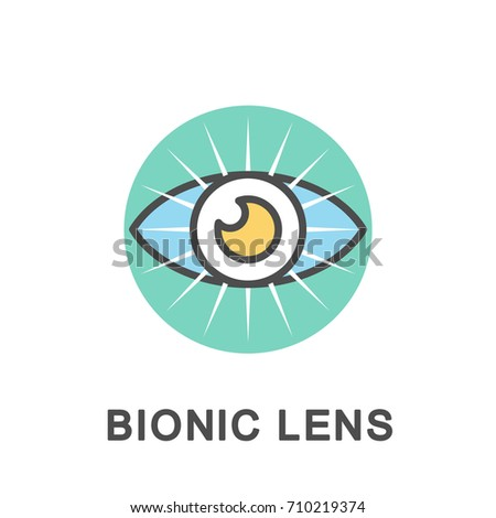 Icon bionic lens. Eye lens based on microcircuits and LEDs restores clear vision. The thin contour lines with color fills.