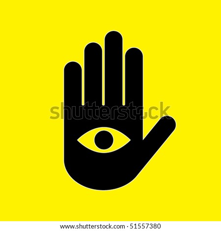 icon black hand on a yellow background