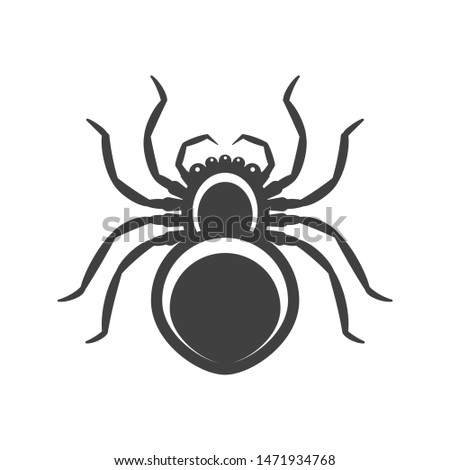 icon black spider vector on a