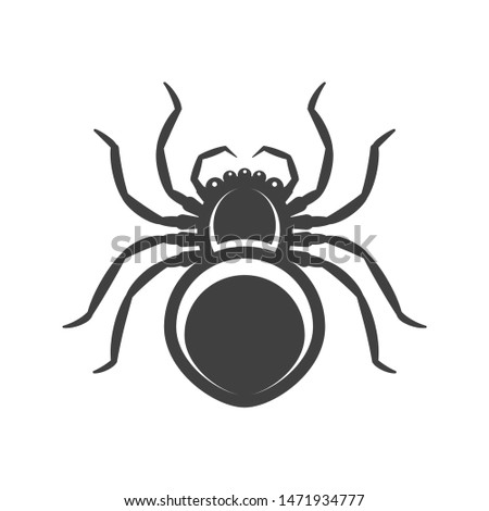 icon black spider with its