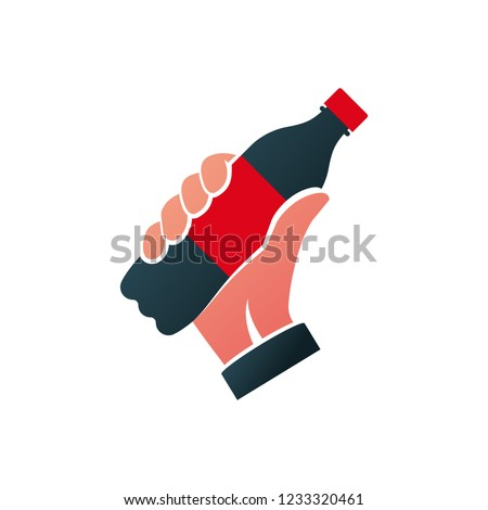 Icon bottle of soda black silhouette hold in hand. Cola in plastic tarre pictogram. Vector flat design. Isolated on white background. Fast food drink symbol. Carbonated drink. Refreshing coca.