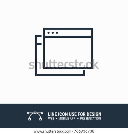 Icon browser multiple windows graphic design single icon vector illustration