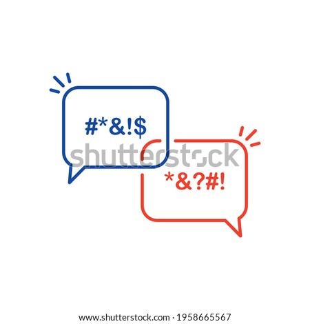 Icon Bubble of Swear and Argue. Chat Message Bubbles with Insult and Profanity. Censor and Bad Words line icon. Online Dialog, Chatting and Dirty Insult. Editable stroke. Vector illustration. Stock photo ©