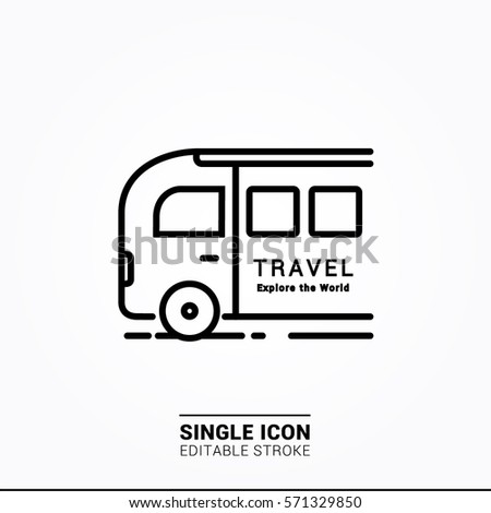 Icon bus travel single icon graphic designer