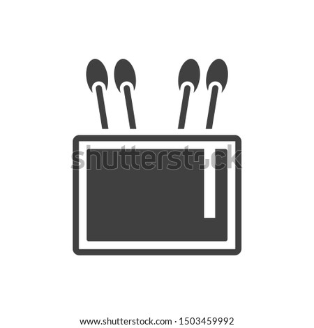 Icon capacity for cotton stick. Vector on a white background.