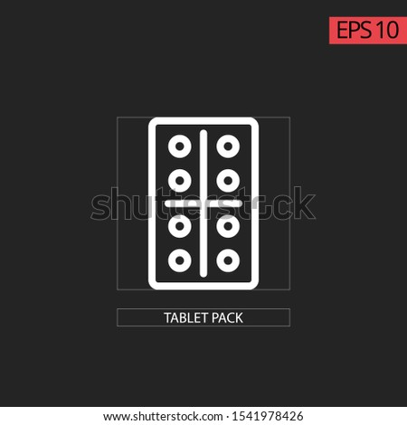 Icon capsules pack with capsules circle and square. Thin line white with black background. Concept of medicine, pharmacy, health care.