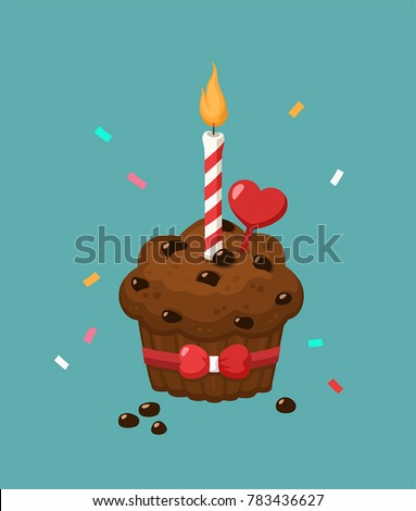 Icon celebratory chocolate cake with a candle. The cake is decorated with chocolate crumbs, heart and bow.