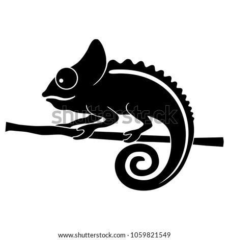 icon chameleon flat symbol