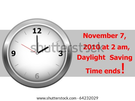 icon clock. daylight saving time ends sunday, november 7, 2010 at 2 am. vector.