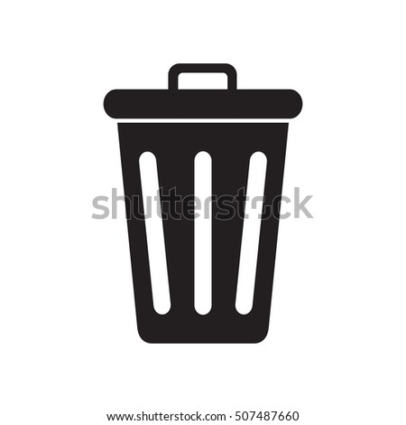 Icon closed trash can isolated on white background. Vector illustration.