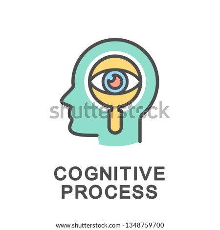 Icon cognitive process. The processes responsible for processing all the information we receive from the environment. The thin contour lines with color fills.