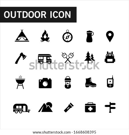 Icon collection of outdoor activities and adventures in the wild such as tent, compasses, mountain and other camping equipment. Suitable for campsites, camp fires and adventures. Filled outdoor icon