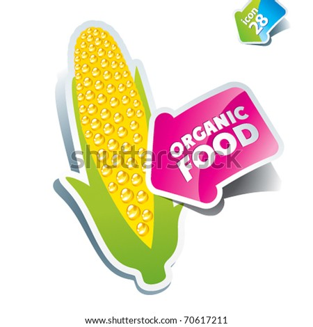 Icon corn an arrow by organic food. Vector illustration.