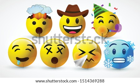 icon 3d vector round yellow cartoon bubble emoticons social media Whatsapp Instagram Facebook  chat comment reactions icon template face Sneezing cold dizzy Exploding Partying emoji character message